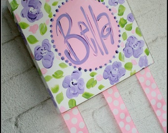 Personalized Custom Monogram Hand Painted Bow Holder