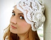 Lucretia Flapper Bridal Cap/ Headpiece made of Vintage looking lace