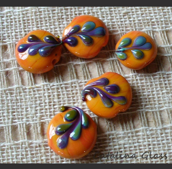 Lampwork Glass Beads  handmade by Catalina Glass  sra     coral purple blue tropical