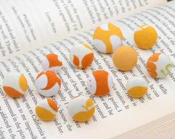 Office Supplies - Thumbtacks, Pushpins, Fabric Covered Button - Orange Gold Assortment of 12