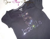 Pink sparkle Swarovski Shirt for girls- birthday name personalized tee- choose colors and sizes- custom made