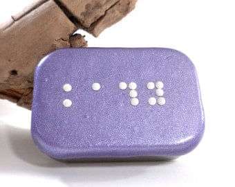 Custom One Line Braille Box - Personalized Braille Jewelry Box - Handmade Treasure Box - Purple Trinket Box - MADE to ORDER