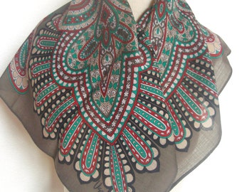 Turquoise Wool Mandala - a rare, vintage 1980's Vera Neumann Pure Wool Scarf - 29 inches