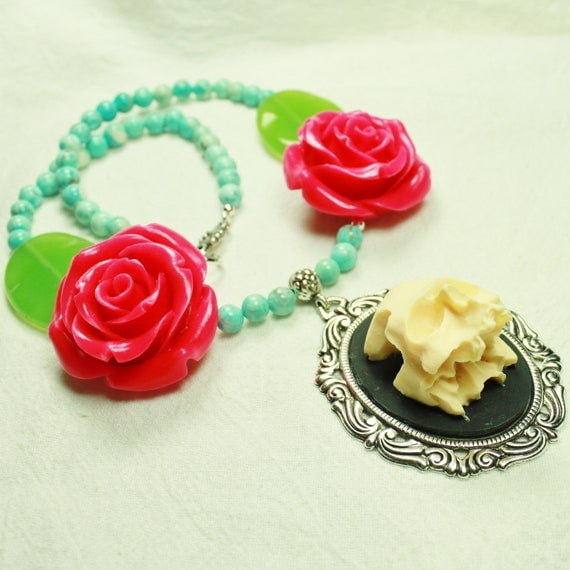 Skull Cameo with Fuchsia Roses, Turquoise Blue and Green Stone