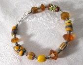 African Savannah Sunset   African Trade Bead Bangle Bracelet
