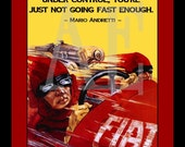 QS-031 Vintage Poster Art - 8x10 PRINT - Automobile Red Race Car Andretti Quote - Also Available as Small Prints and Postcards
