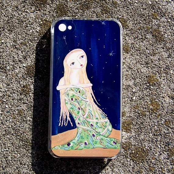iPhone Skin with Case G4 G4S Original art print painting - mermaid water star moon