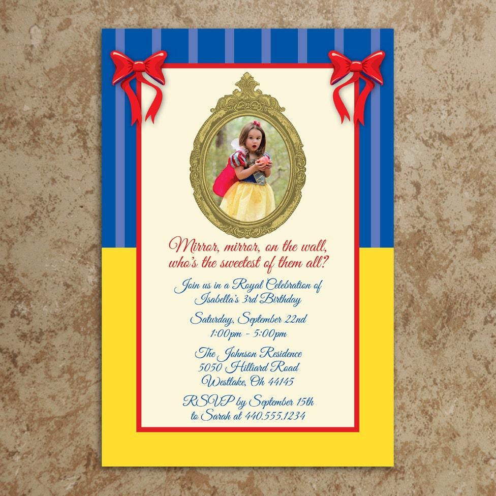 Snow White Inspired Invitation Printable JPEG file Snow – Snow White Party Invitations