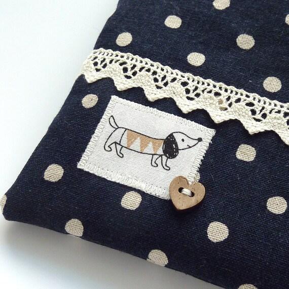 Kawaii sausage dog coin purse in navy polka dot print