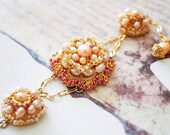 Gold Bridal Bracelet, Bridal Freshwater Pearl Bracelet, Wedding Gold Bracelet, Floral Bridal Bracelet, Bridal Jewellery BERFIN