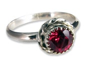 Sterling Silver and Lab Grown Ruby Ring - Jewelry24Seven