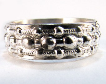 Wedding Ring Sterling Silver Bead Design