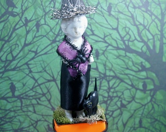 Halloween Vintage Inspired Candy Box Witch Decoration Box Frozen Charlotte Mixed Media Candy Treat Box