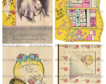 Vintage 1930s Baby Birth Greeting Card Digital Download 249 - by Vintage Bella collage sheet
