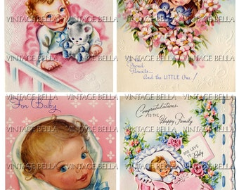 Vintage 1940s Baby Birth Greeting Card Digital Download 259 - by Vintage Bella collage sheet