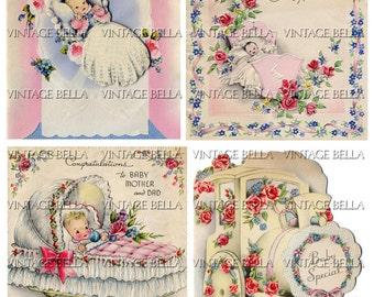 Vintage 1940s Baby Birth Greeting Card Digital Download 261 - by Vintage Bella collage sheet