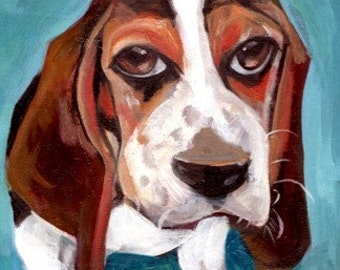 Blood Hound Dog Art. Roscoe. Hound Dog Art. Cute Puppy Illustration. Poster. Puppy Art. Sky Blue.