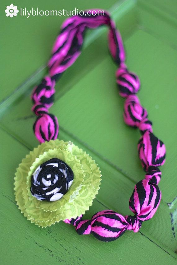 Chunky Pink Zebra Fabric Necklace