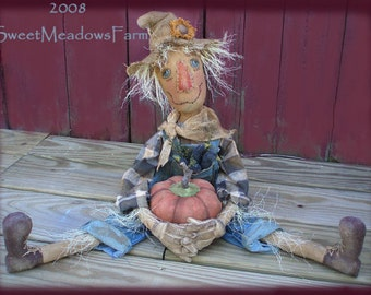 Primitive E-PATTERN Scarecrow Doll with Pumpkin and Pocket of Crows