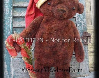 Primitive E-PATTERN Standing Grungy Bear Doll in Santa Hat