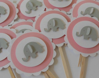 Elephant Cupcake Toppers - Pink and Gray - Girl Baby Shower Decorations - Girl Birthday Decorations - Set of 12