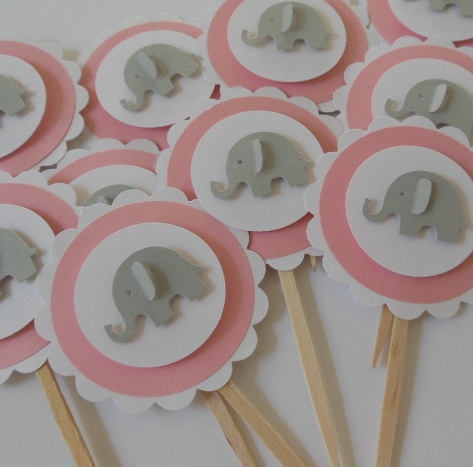 Pink And Gray Elephant Baby Shower Decorations: Elephant Cupcake Toppers Pink And Gray Girl Baby Shower