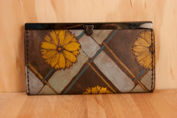 Leather Checkbook Wallet - April pattern with daisies and plaid - Yellow, sage, turquoise, green and antique black