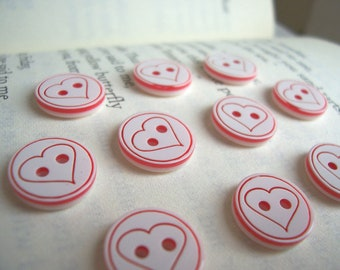 SALE Love Heart buttons - pink and white - 10 pieces