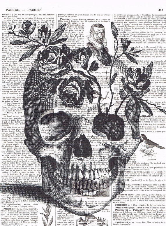 Skull,Flowers, OOAK, Gift , French,Paris, Vintage. Altered, Repurposed,  Antique Book Page, buy 3 get 1 free,retro.steam punk,.goth