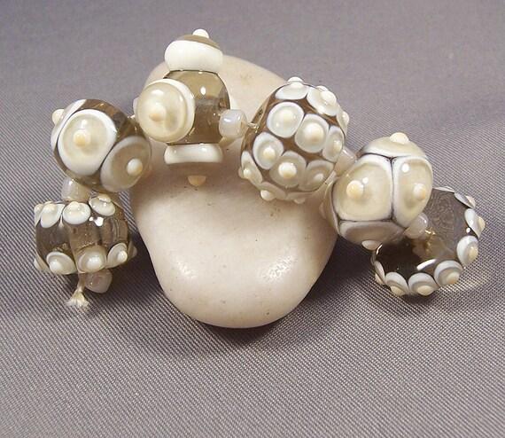 Handmade Lampwork Beads by Mona - Winter White - Precision Dots Lampwork Bead Set Boho Hippie Steampunk Beads Lampwork Glass