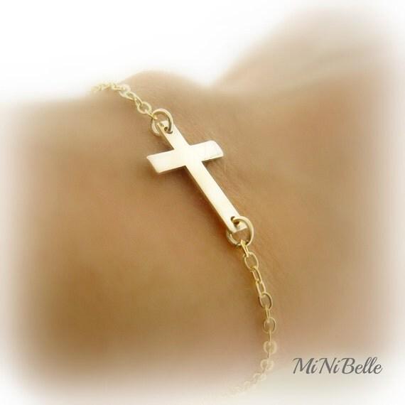 Sideways Cross Bracelet Gold Sideways Cross Bracelet Gold