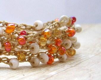 Beaded  Wrap Bracelet, Bohemian Style Jewelry, Ivory, Amber and Peach Wrap Around Bracelet, Hippie Jewelry, Crochet Bracelet, Boho Chic