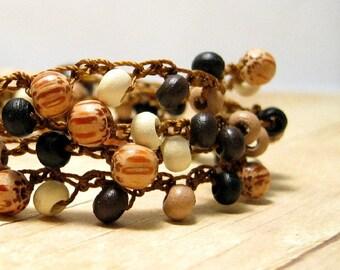 Wood Bead Bracelet, Crocheted Wrap Around Bracelet, Wooden Jewelry, Beaded Wrap Bracelet, Earthy Jewelry, Boho Style, Hippie Jewelry