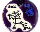 The Original Tree of Life Ceramic Necklace or Ode to Charles Darwin in Purple and Blue
