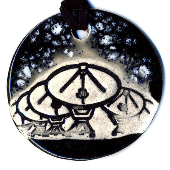 Radio Telescope Ceramic Necklace in Black and Gray Med