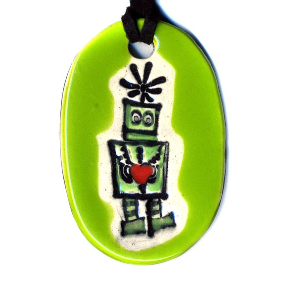 Robot With Heart Ceramic Necklace in Green