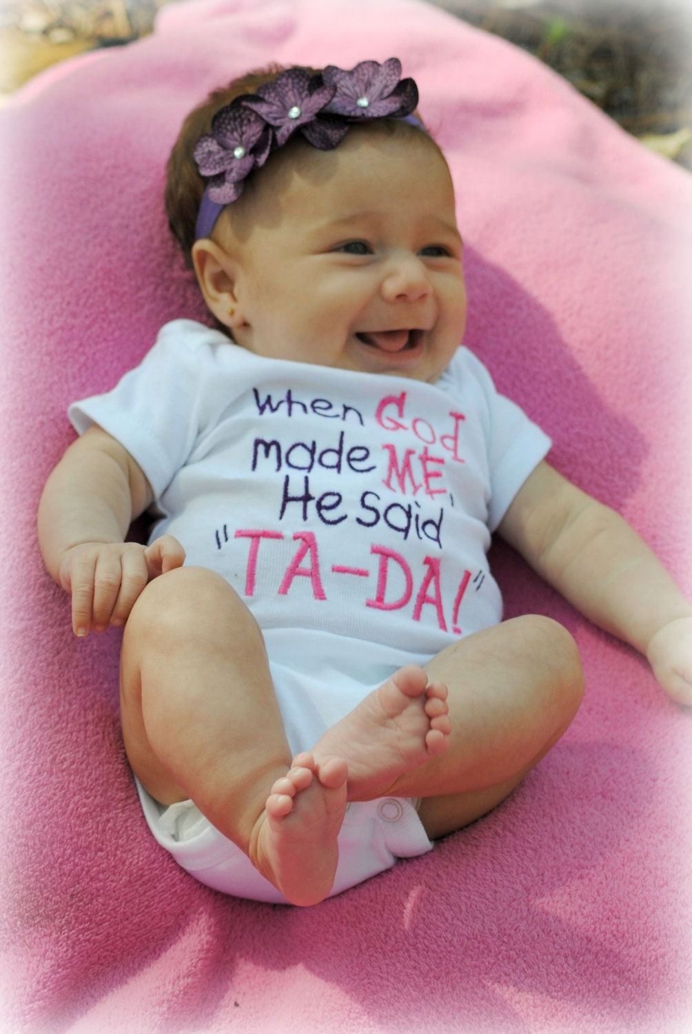 When God Made Me He Said Ta Da Bodysuit Tshirt Pink Purple