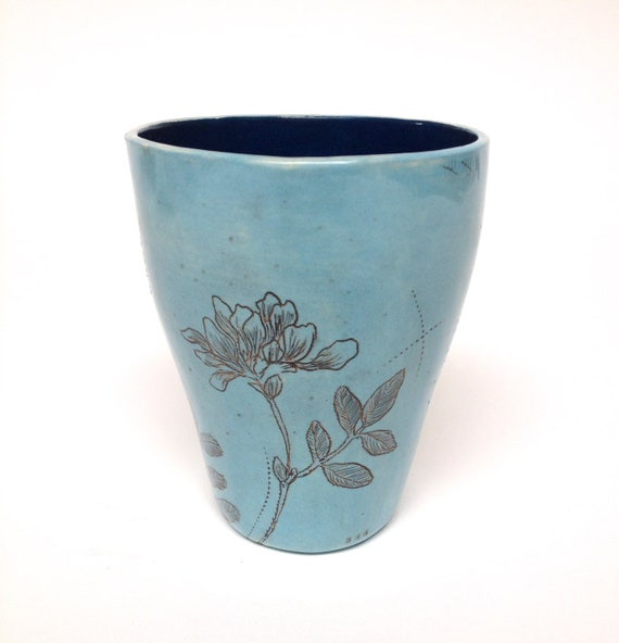 Hand Etched Turqoise Blue Tumbler