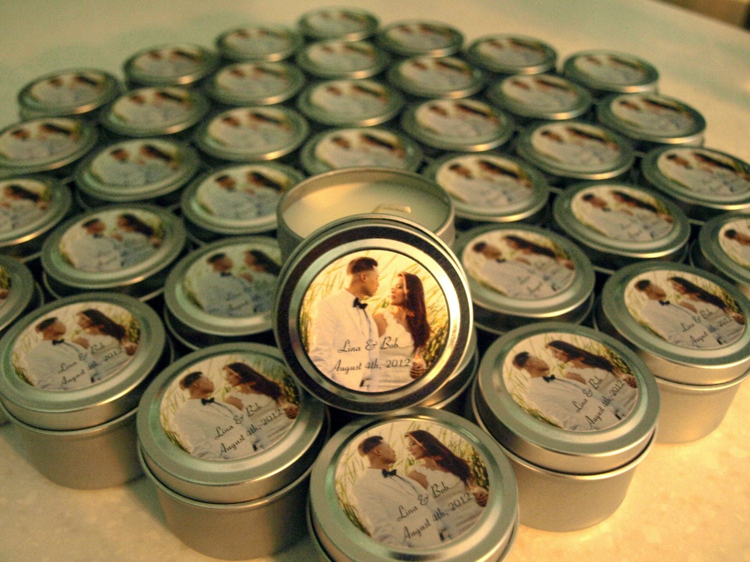 Candle Wedding Gift: Wedding Or Bridal Shower Favor Candles Travel Tin Gift Sample