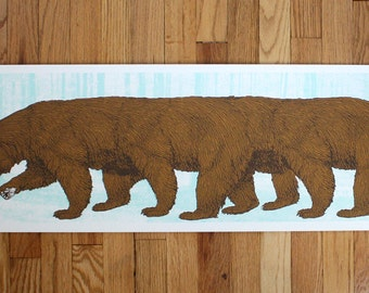 Long Bear- 12x36- HandPrinted Art Print