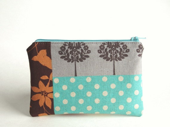 Zippered Pouch - Forest Patchwork imported Japanese fabric