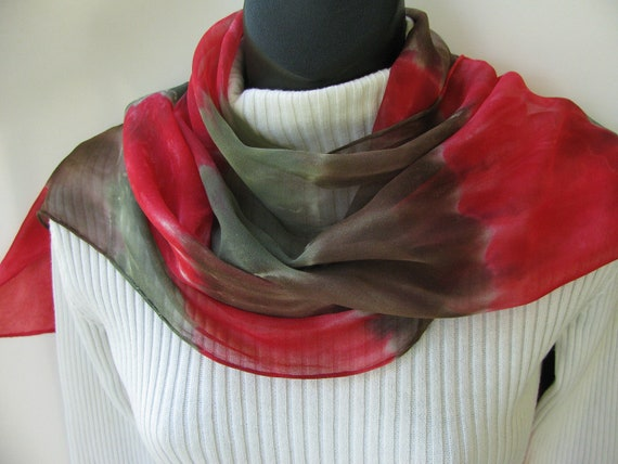 Hand Dyed Silk Scarf for Women.Red Scarf, green scarf brown scarf,tie dyed scarf, fall scarf, autumn scarf