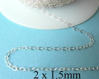 10 ft - Sterling Siver Flat Cable Chain  2 x 1.5mm
