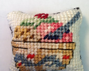 Ice Cream Sundae (A) - Miniature Needlepoint Pillow