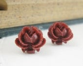 Shop Closing Sale -- Ruffled Rose Post Earrings in Burgandy Wine with Surgical Steel Posts