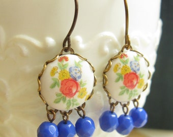 Antiqued Brass Floral Earrings Red Yellow Blue Flower Dangle Earrings with Blue Beads Romantic Vintage Style Gift for Her Under 20