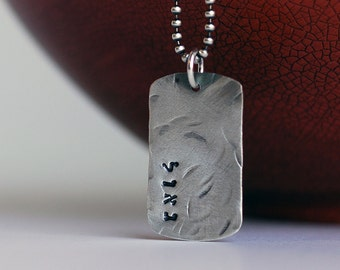 Silver Dog Tag Necklace for him - Military Dog Tag - HEBREW Redeemed -Silver necklace for him - Baptism First Communion Necklace - Bible