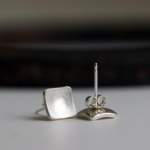 Silver Square Earrings - Post Earrings - Modern Geometric Squares - EcoFriendly Sterling Silver - Everyday Earrings - Gift Earrings - E3018