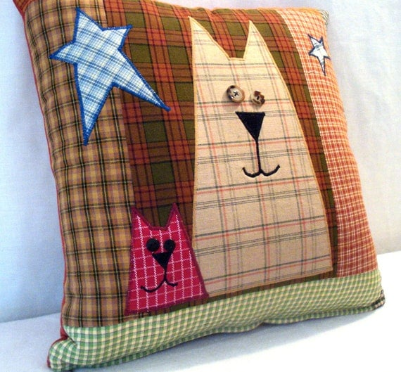 Folk Art Cat Pillow Cover
