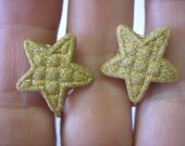 Play Earring - Clip - Quilt Look Glitter Coverd Star - Gold - 3/4""